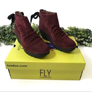 New In Box FLY London Yebi Suede Wedge Ankle Boot